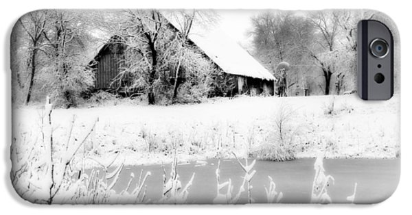 Barn Print Photographs iPhone Cases - White Christmas 3 iPhone Case by Julie Hamilton