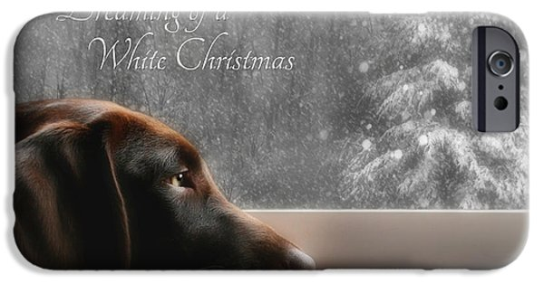 Chocolate Lab Digital Art iPhone Cases - White Christmas iPhone Case by Lori Deiter