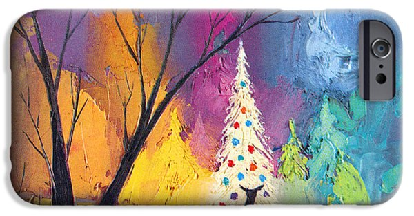 Card Digital Art iPhone Cases - White Christmas Tree iPhone Case by Munir Alawi