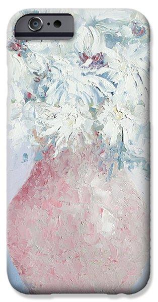 White Chrysanthemums iPhone Case by Jan Matson