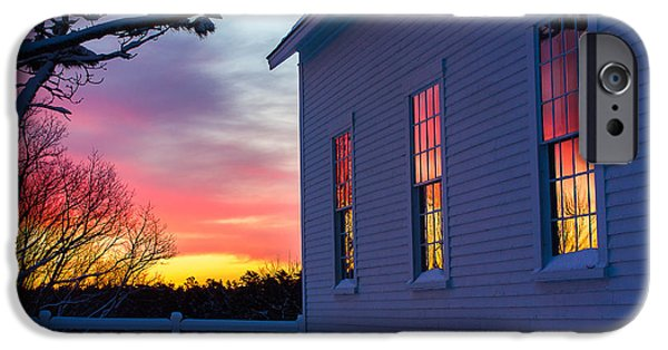 Recently Sold -  - New England Snow Scene iPhone Cases - White Church Windows iPhone Case by Benjamin Williamson
