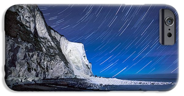 Margaret iPhone Cases - White Cliffs of Dover on a Starry Night iPhone Case by Ian Hufton
