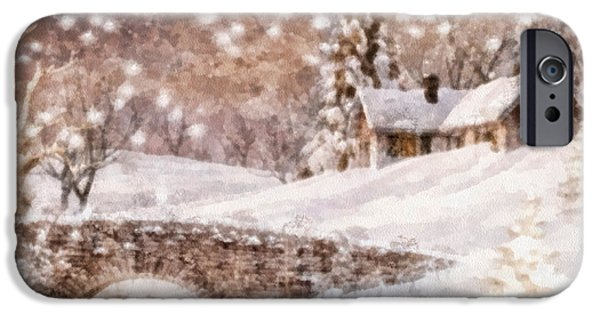 Covered Bridge Paintings iPhone Cases - White Coat iPhone Case by Mo T