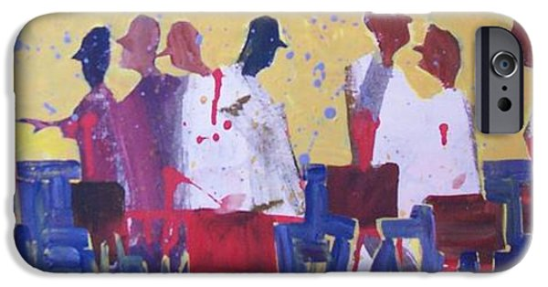 Business Paintings iPhone Cases - White Coats Walking iPhone Case by Larry Lerew