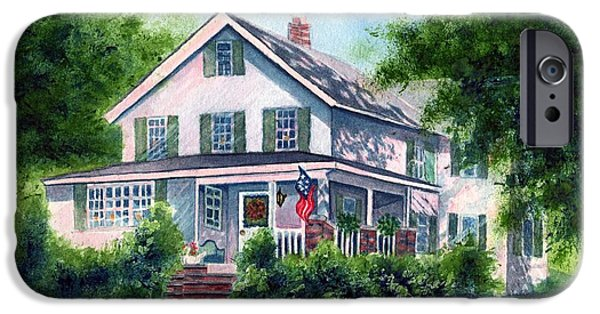 White House iPhone Cases - White country farmhouse iPhone Case by Janine Riley