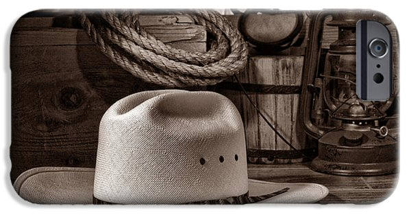 Cowboy Gear iPhone Cases - White Cowboy Hat on Workbench iPhone Case by American West Legend By Olivier Le Queinec
