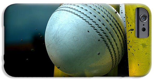 Cricket iPhone Cases - White Cricket Ball And Wickets iPhone Case by Allan Swart