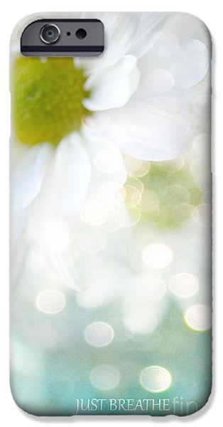 White Daisies iPhone Cases - Dreamy White Daisies Floral Art - Ethereal Dreamy Shabby Chic White Daisies - Just Breathe iPhone Case by Kathy Fornal