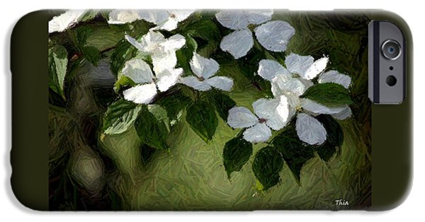 Cherry Blossoms Tapestries - Textiles iPhone Cases - White Dogwoods in Spring I iPhone Case by Thia Stover
