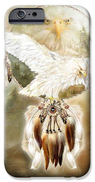 Dreamcatcher iPhone Cases - White Eagle Dreams iPhone Case by Carol Cavalaris