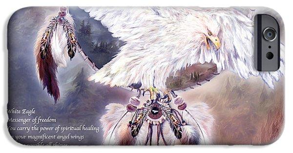 Bird Of Prey Art iPhone Cases - White Eagle Dreams w/prose iPhone Case by Carol Cavalaris