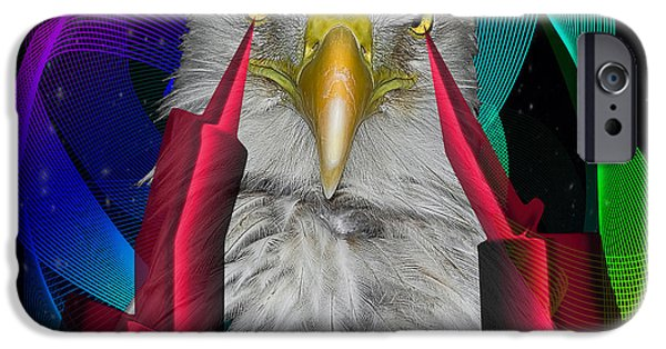 Contemporary Abstract iPhone Cases - white Eagle face iPhone Case by Mark Ashkenazi