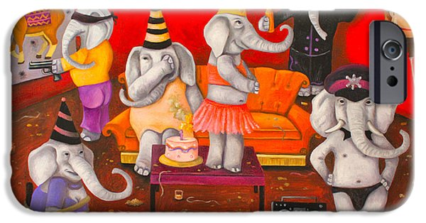 Elephant iPhone Cases - White Elephant Party edit 5 iPhone Case by Leah Saulnier The Painting Maniac