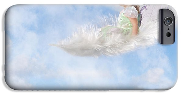 Little Girl iPhone Cases - White Feather Dream iPhone Case by Cindy Singleton