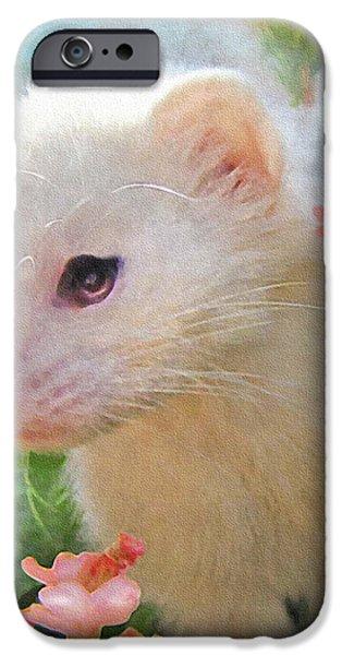 white ferret iPhone Case by Jane Schnetlage