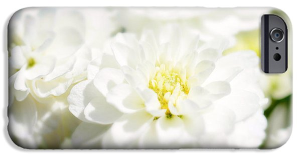 Flora Mixed Media iPhone Cases - White flower macro iPhone Case by Toppart Sweden