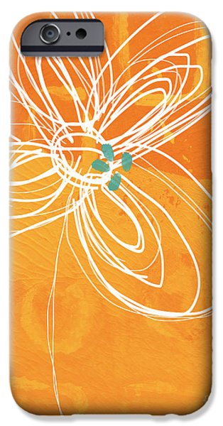 Circles iPhone Cases - White Flower on Orange iPhone Case by Linda Woods