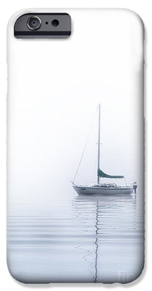 Sailboat Pyrography iPhone Cases - White fog iPhone Case by Jack Vainer