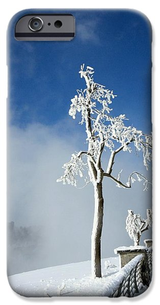 Snowy Day Digital Art iPhone Cases - White Freeze iPhone Case by Gothicolors Donna Snyder