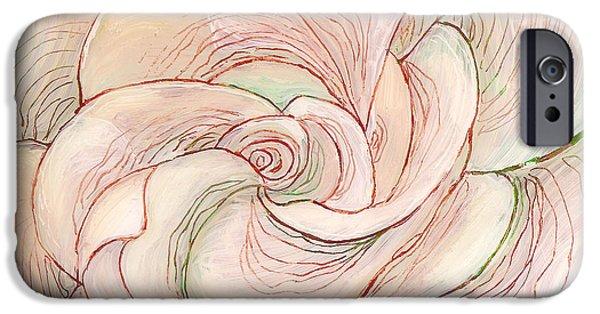 Sheets Glass Art iPhone Cases - White Gardenia 1 iPhone Case by Anna Skaradzinska