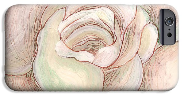 Sheets Glass Art iPhone Cases - White Gardenia 2 iPhone Case by Anna Skaradzinska