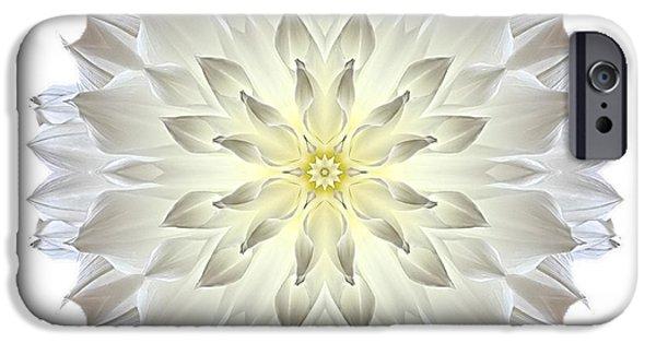 David J Bookbinder iPhone Cases - Giant White Dahlia I Flower Mandala White iPhone Case by David J Bookbinder