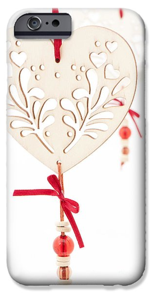 White Hearts iPhone Case by Anne Gilbert