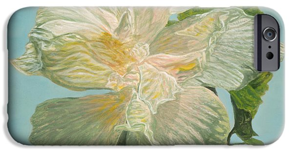 Michael Paintings iPhone Cases - White Hibiscus iPhone Case by Michael Allen Wolfe