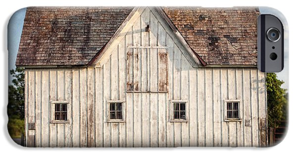 Old Barns iPhone Cases - White Horse Barn Landscape iPhone Case by Lisa Russo