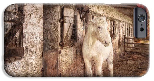 Restored Plantation iPhone Cases - White horse by an old barn iPhone Case by Carolyn Derstine