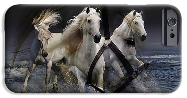 Horses iPhone Cases - White Horse iPhone Case by Marvin Blaine