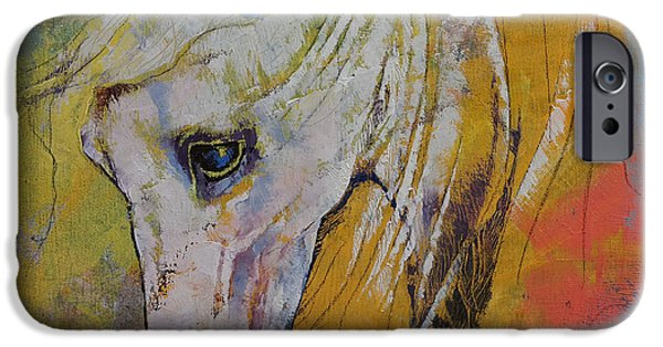 Michael iPhone Cases - White Horse iPhone Case by Michael Creese