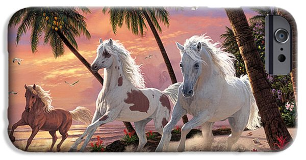 Moonlit iPhone Cases - White Horses iPhone Case by Steve Read