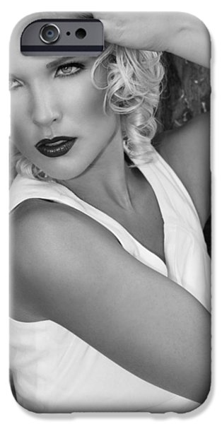 Kathleen iPhone Cases - WHITE HOT BW Palm Springs iPhone Case by William Dey