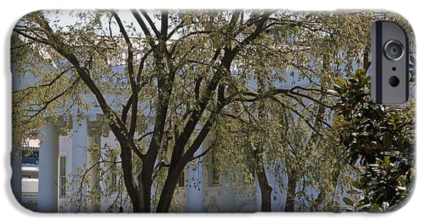 Cora Wandel iPhone Cases - White House Behind Trees iPhone Case by Cora Wandel