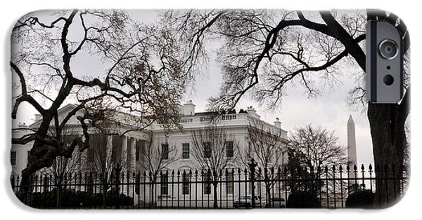 White House iPhone Cases - White House on a Cloudy Winter Day iPhone Case by Gary Whitton