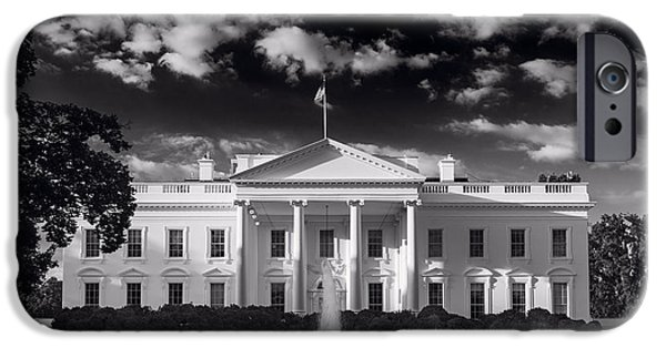 White House iPhone Cases - White House Sunrise B W iPhone Case by Steve Gadomski