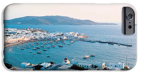 White House iPhone Cases - White Houses & Aegean Sea Mykonos Isl iPhone Case by Panoramic Images