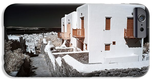 White House iPhone Cases - White Houses in Mykonos infrared iPhone Case by John Rizzuto