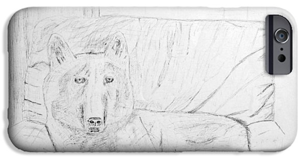 Husky Drawings iPhone Cases - White Husky sitting on couch iPhone Case by Adam Wardle
