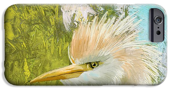 Parakeet iPhone Cases - White Kingfisher iPhone Case by Catf