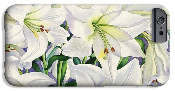 In Bloom Paintings iPhone Cases - White Lilies iPhone Case by Christopher Ryland