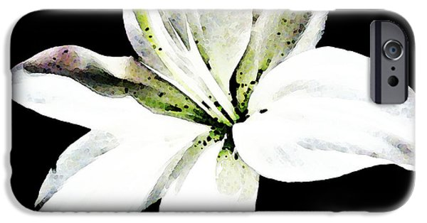 Day Lilies iPhone Cases - White Lily - Elegant Black And White Floral Art By Sharon Cummings iPhone Case by Sharon Cummings