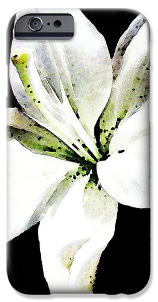 White Lily - Elegant Black And White Floral Art By Sharon Cummings iPhone Case by Sharon Cummings