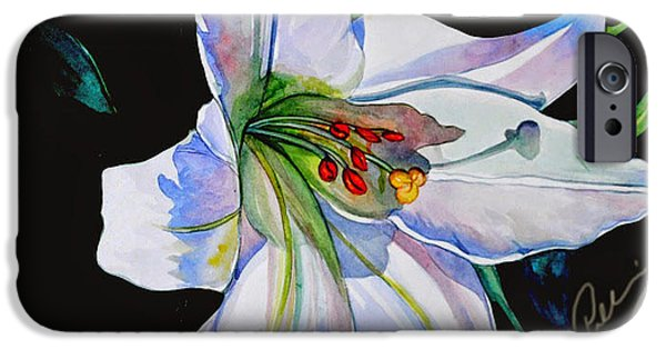 Nature Study Paintings iPhone Cases - White Lily iPhone Case by Pallavi Gupta