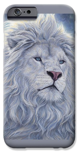 Lion iPhone Cases - White Lion iPhone Case by Lucie Bilodeau