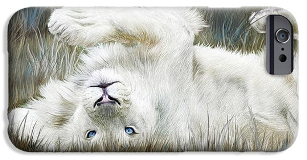 Young Mixed Media iPhone Cases - White Lion - Wild In The Grass iPhone Case by Carol Cavalaris