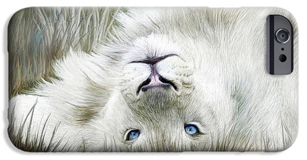 African Lion Art iPhone Cases - White Lion - Wild In The Grass SQ iPhone Case by Carol Cavalaris