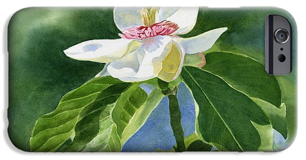 White Flowers Paintings iPhone Cases - White Magnolia iPhone Case by Sharon Freeman
