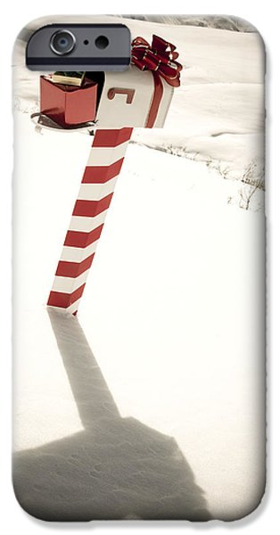 Christmas Holiday Scenery iPhone Cases - White Mailbox Decorated For Christmas iPhone Case by Kevin Smith